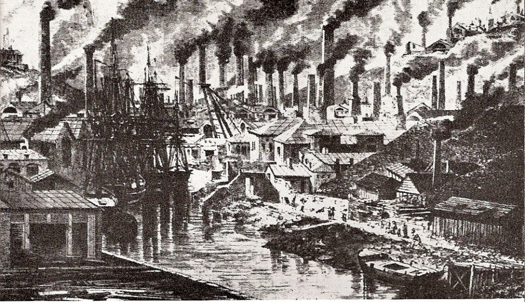 The Hafod and Middle Bank Works, c. 1840. Note the ships far up the river